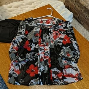 Christopher & Banks sheer floral blouse and cami